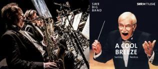 """Collage aus einem Foto der Saxophonisten der SWR Big Band und dem Cover des Albums """"SWR Big Band & Sammy Nestico - A cool breeze"""""""