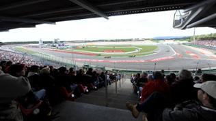 Blick über das Motodrom des Hockenheimring von der Südtribüne, aufgenommen am 22.07.2012