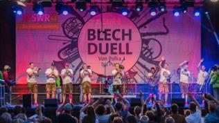 """Die """"Jack Russel´s Halsbänd"""" auf der Bühne beim Blechduell-Vorentscheid 2017 in Wangen im Allgäu."""