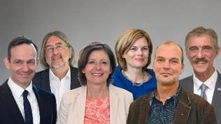 Volker Wissing FDP, Bernhard Braun Grüne,  Malu Dreyer  SPD,  Julia Klöckner CDU, Jochen Bülow Linke, Uwe Junge AfD