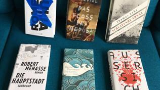 Die Buchcover der Shortlist 2017 nebeneinander