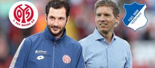 Montage aus Sandro Schwarz (Trainer Mainz 05) und Julian Nagelsmann (Trainer Hoffenheim 1899)