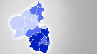 Karte von Rheinland-Pfalz mit farbig markierten Feldern
