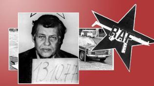 Bildcollage: Entführer-Aufnahme von Hans Martin Schleyer, RAF-Logo und Fahrzeuge beim Buback-Attentat vor rotem Grund