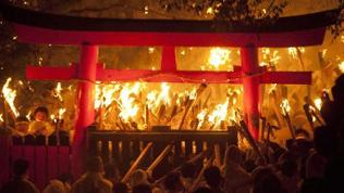 Feuerfest in einen Shinto-Tempel in Wakayama, Japan