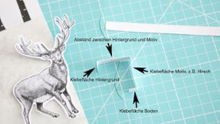 Fertigen Sie aus einem ca. 1 cm breiten Tonkarton-Streifen einen Abstandshalter für jedes Motiv.
