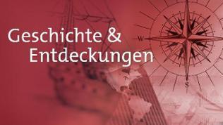 """Bildcollage in Rottönen mit Kompass-Motiv und Schriftzug """"Geschichte und Entdeckungen"""""""