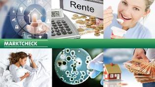 Marktcheck-Sendungscollage mit Logo, Grafik Smart-Home, Rentenordner, Immobilie, schalfende Frau, Frau isst Kefir, Bakterien