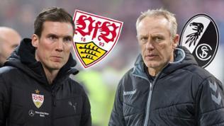 Hannes Wolf (VfB Stuttgart, li) und SC-Freiburg-Trainer Christian Streich