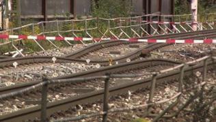 Abgesenkte Gleise bei Rastatt