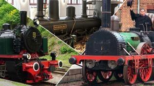 Drei alte Dampflokomotiven in einer Montage nebeneinander.