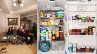 Großer Kontrast zum leeren Kühlschrank der älteren Dame: hier zu sehen in Istanbul bei einer fünfköpfigen Familie.