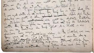 """Handschrift Kafkas, Beginn des Romans """"Das Schloss"""""""