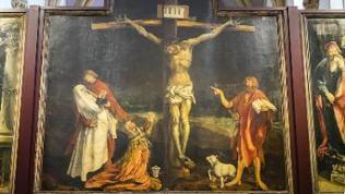 Isenheimer Altar von Matthias Grünewald, Kreuzigung. Museum Unterlinden, Musée Unterlinden, Colmar, Elsass.
