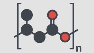 Chemische Struktur von Polyhydroxybutyrate PHB - biologisch abbaubarer Kunststoff auf der Basis von Kohlendioxid