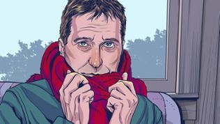 Zeichnung Mann mit Schal und leidendem Blick