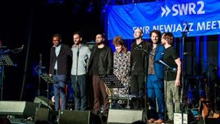 SWR NEWJazz Ensemble 2018: Fiston Mwanza Mujila, Lukas Kranzelbinder, Mario Rom, Mona Matbou-Riahi Gregory Dargent, Johannes Schleiermacher, Dave Smith