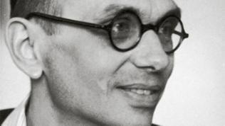 Kurt Gödel, österreichischer Physiker. Photographie. Um 1950.  Handschriftensammlung der Wiener Stadt- und Landesbibliothek