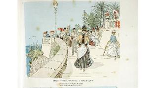 L'Escalier de la Fortune à Monte Carlo (Illustration, Mars, um 1900) - Menschen flanieren mit Blick aufs Meer in Monte Carlo