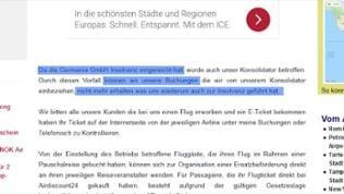 """Mehrere Worte blau markiert: """"Da die Germania GmbH Insolvenz eingereicht hat (...) können wir unsere Buchungen (...) nicht mehr erhalten was uns wiederum zur Insolvenz geführt hat"""""""
