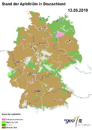 Apfelblütenlandkarte 13. Mai