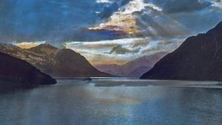 Gotthard Simplon Bahn Blick auf den Vierwaldstättersee bei Brunnen Schweiz 1930er Jahre