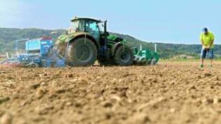 Traktor pflügt ein Feld