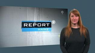 Gebärdendolmetscherin neben Logo von Report Mainz