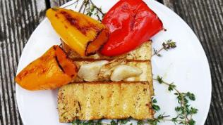weißer Teller mit 2 Scheiben gegrilltem Tofu mit gegrillter Paprika dazu