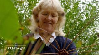 Brigitte Obermeir beim Flechten eines Korbes in der Natur