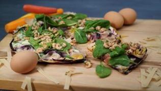 Nudel Eierkuchen mit Krabben