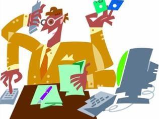 gezeichnete Figur die gleichzeitig einen Taschenrechner, ein Handy und einen Computer bedient
