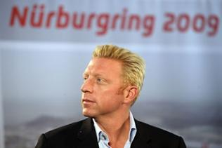 Boris Becker äußert sich am 28.05.2009 während einer Pressekonferenz der Nürburgring GmbH in seiner Rolle als neuer Nürburgring-Markenbotschafter vor Journalisten.