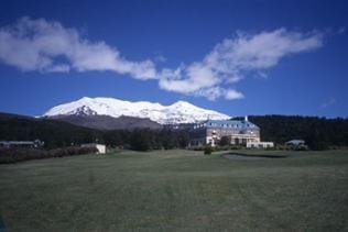 Gebäude am Fuße des Tongariro