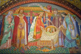Das Mosaik ist ein Geschenk Wilhelms II, an seinen Neffen Carl-Alexander und die üppigste der vielen Erinnerungen an die Heilige Elisabeth auf der Wartburg.