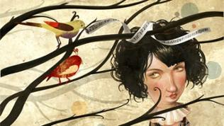 Illustration: Ein Mädchen, über dessen Kopf Vögel auf Ästen ein Notenband im Schnabel halten