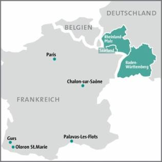 Karte Deportation von Juden aus dem Südwesten Deutschlands nach Gurs