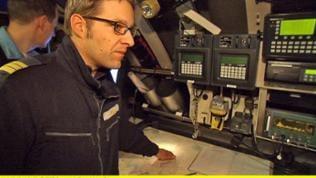 Der Navigationsplatz des modernen U-Bootes U-33