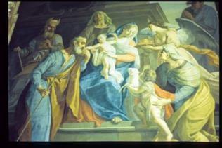 Deckengemälde Maria mit Kind und Menschen drum herum