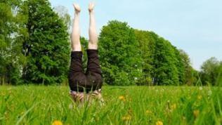 Mensch macht Handstand auf einer grünen Wiese