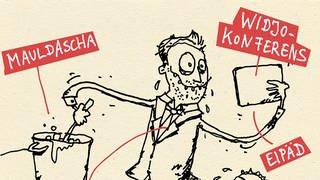 Micha Marx zeichnet schwäbische Quarantänetypen (Foto: SWR)