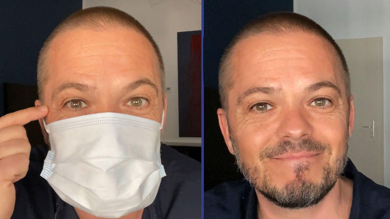 Stefan veraa mit und ohne Atemschutzmaske (Foto: SWR)