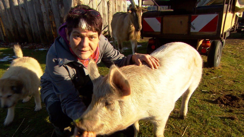 Frau streichelt ein Schwein auf ihrem Gnadenhof für Tiere (Foto: SWR)