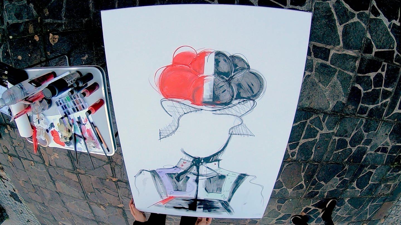 Das Kunswerk zeigt eine Frau die einen zwei geteilten Bollenhut auf hat. (Foto: SWR)