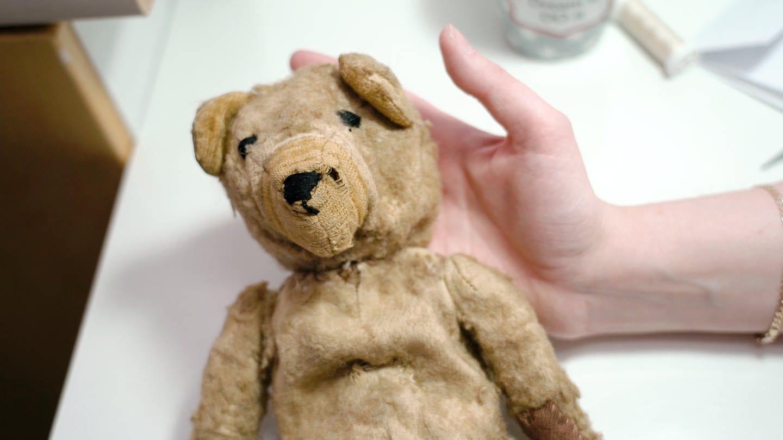 Alter Stoff-Teddy mit kaputter Nase (Foto: SWR)