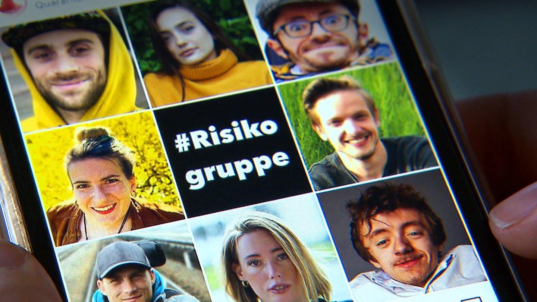 Ein Mosaik aus verschiedenen Porträts junger Menschen in der Risikogruppe. In der Mitte steht der Text #Risikogruppe (Foto: SWR)