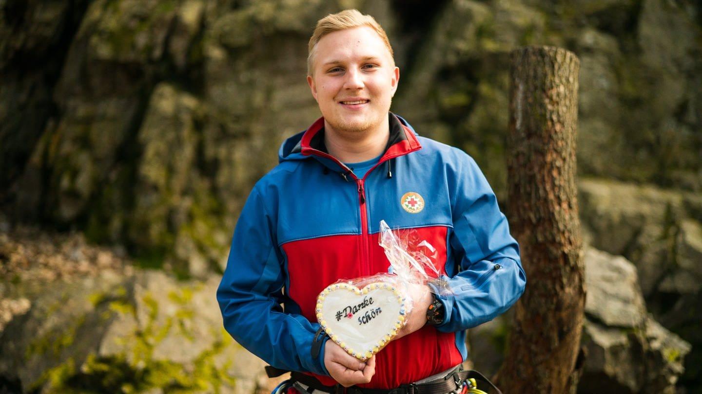 Collin Meffert von der Bergwacht Rotenfels