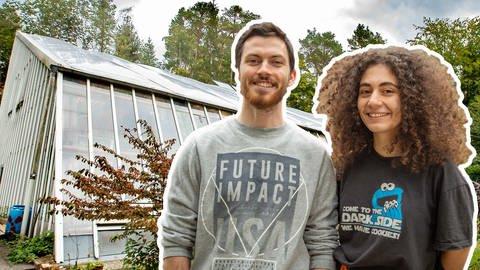 Marcel und Anna vor dem ESA-Gewächshaus in Kaiserslautern (Foto: SWR)