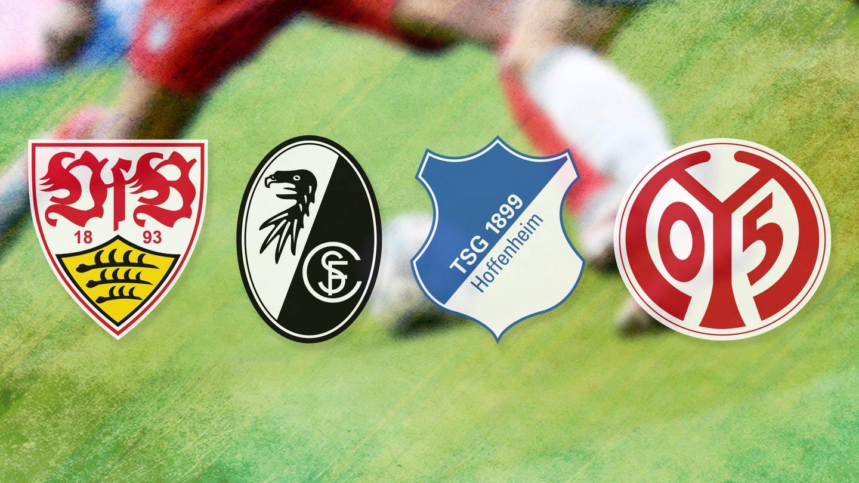 Die Logos des VfB Stuttgart, SC Freiburg, TSG Hoffenheim und 1. FSV Mainz 05. (Foto: dpa Bildfunk, SWR, VfB Stuttgart, SC Freiburg, TSG Hoffenheim, 1. FSV Mainz 05)