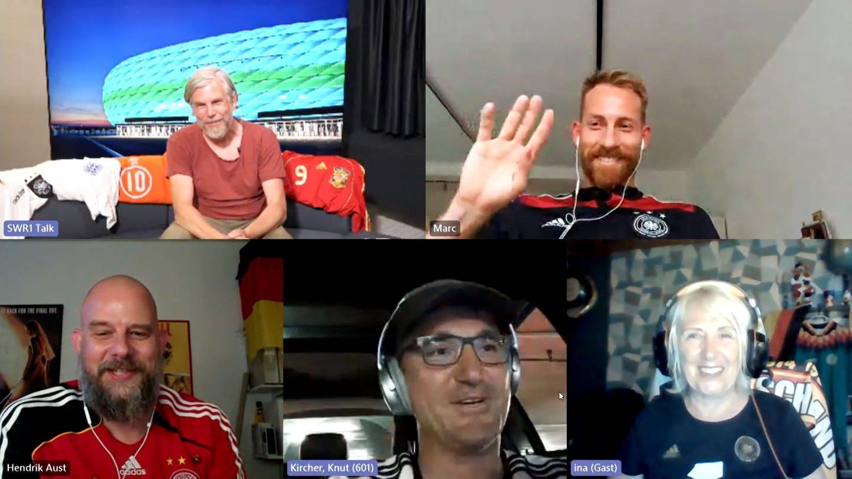 Jens Wolter, Knut Kircher, Marc Schnatterer und SWR1 Hörende in der Online-Schalte